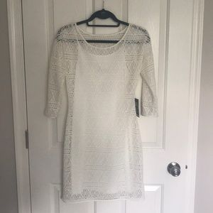 Express S White Lace 3/4 Sleeve Dress